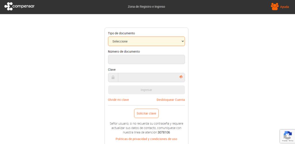 Para ingresar al panel de usuario de la eps compensar, debes ingresar tu numero de documento y clave