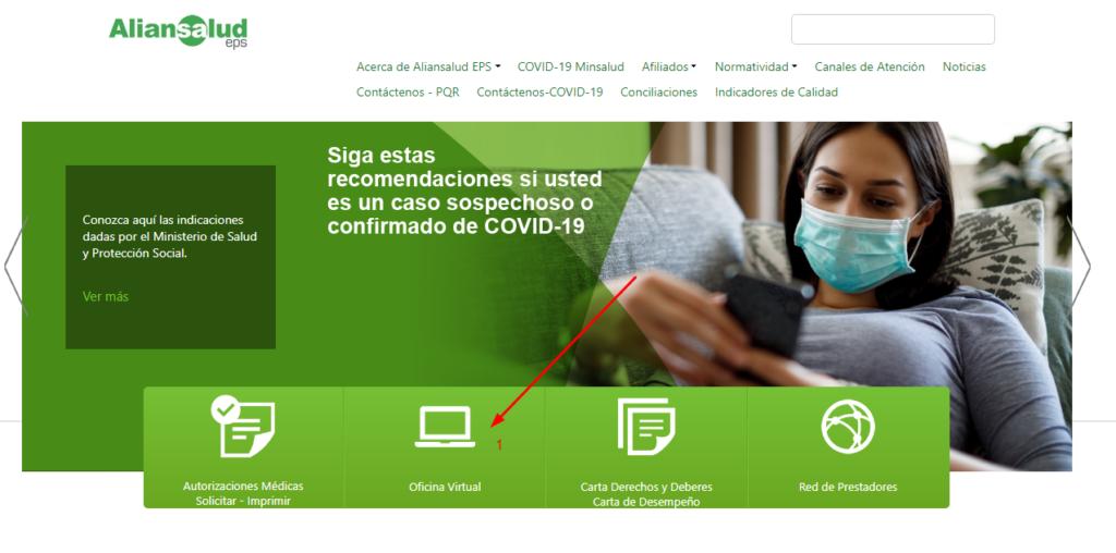 en la web de aliansalud, dirigirse a oficina virtual para descargar el certificado de afiliacion.