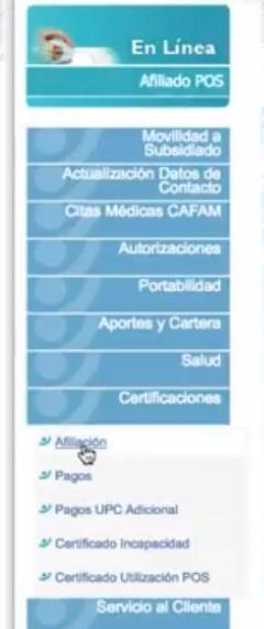 ve a certificaciones y selecciona afiliacion