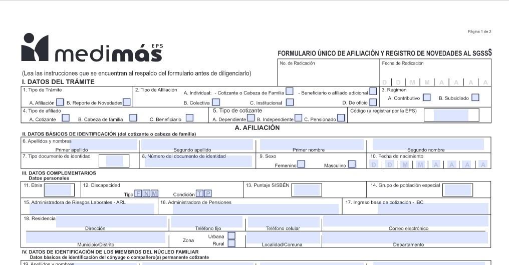 formulario de afiliación a medimas