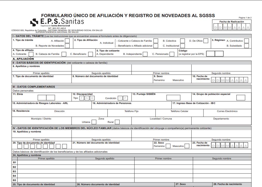 formulario de afiliacion de eps sanitas.
