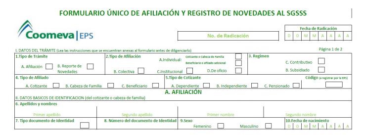 Como Afiliarse a Coomeva rellenando este formulario único de afiliación